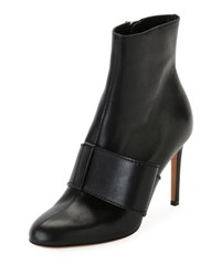 Valentino Bow Trim Leather Ankle Boot Black