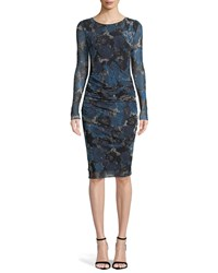 Fuzzi Long Sleeve Floral Lace Print Tulle Shirred Dress Blue Universe