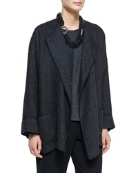 Eskandar Cuffed Rib Knit Open Jacket Coal