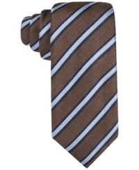 Tasso Elba Men's Knit Striped Classic Tie Only At Macy's Brown