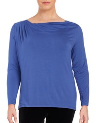 Lord And Taylor Plus Plus Pleated Alpaca Blend Top Azure Blue