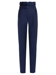 Gabriela Hearst Beatrice High Rise Slim Fit Wool Trousers Navy