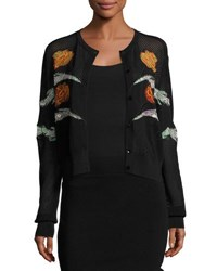 Opening Ceremony Gestures Embroidered Mesh Cardigan Black