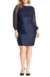 London Times Plus Size Women's Pleat Lace And Taffeta Sheath Dress