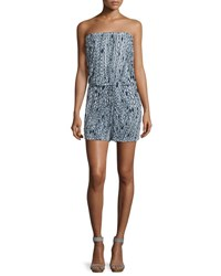 Milly Mortola Chain Print Strapless Romper White Navy
