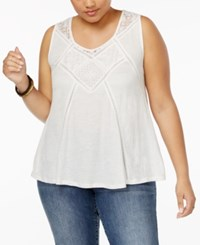 American Rag Trendy Plus Size Crochet Trim Tank Top Only At Macy's Egret