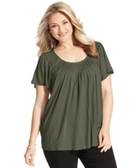 Styleandco. Style And Co. Plus Size Short Sleeve Pleated Top Olive Sprig