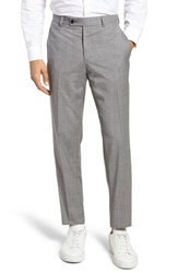 Ted Baker London Jefferson Flat Front Check Wool Trousers Taupe
