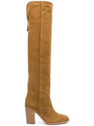Laurence Dacade Round Toe Suede Knee Boots Brown