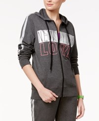 Material Girl Active Juniors' New York Love Graphic Hoodie Only At Macy's Heather Charcoal