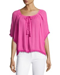 Chelsea And Theodore Lace Trim Gathered Neckline Top Pink