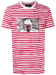 Blood Brother Glitched Face Print Striped T Shirt White