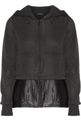 Koral Parallel Satin Jersey Paneled Perforated Tech Jersey Jacket Black