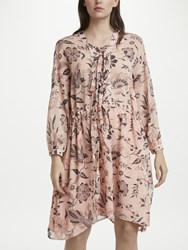 Maison Scotch Floral Neck Tie Flared Dress Blush Multi