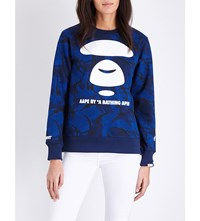 Aape By A Bathing Ape Logo Print Cotton Blend Sweatshirt Blue