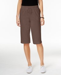 Karen Scott Pull On Bermuda Shorts Only At Macy's Brown Clay