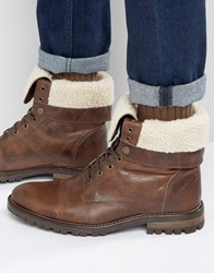 Walk London Baker Faux Shearling Lace Up Boots Brown