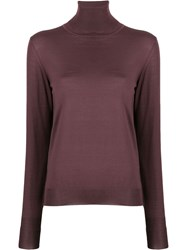 Roberto Collina Roll Neck Knitted Top Purple