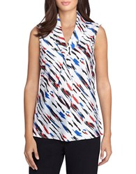 Tahari By Arthur S. Levine Petite Sailor Tie Sleeveless Blouse White Red Blue