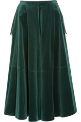 Maison Martin Margiela Mm6 Fluted Velvet Midi Skirt Emerald