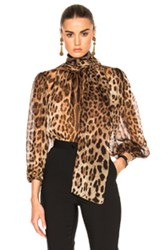 Dolce And Gabbana Chiffon Leopard Print Blouse In Animal Print Brown Animal Print Brown