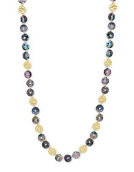 Lonna And Lilly Abalone Cubic Zirconia Disc Necklace Blue