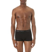 Hom Basic Stretch Cotton Trunks Pack Of Three Black Turquoise