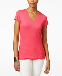 Inc International Concepts Ribbed V Neck Top Only At Macy's Polished Coral