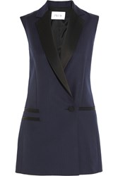 Pallas Persee Satin Trimmed Herringbone Wool Vest Navy