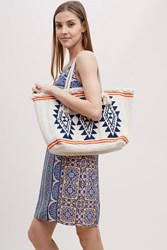 Star Mela Varuna Embroidered Tassel Trimmed Tote Neutral