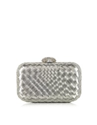 Forzieri Woven Leather Clutch W Crystals Closure