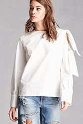 Forever 21 Open Shoulder Bow Top White