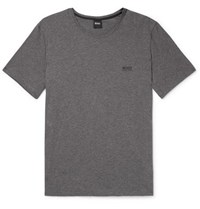 Hugo Boss Logo Embroidered Stretch Cotton Jersey T Shirt Gray