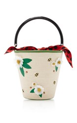 Charlotte Olympia Picnic Bucket Bag Brown Green Red