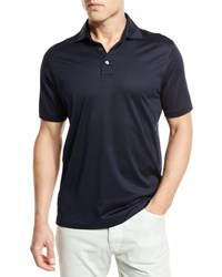 Ermenegildo Zegna Mercerized Cotton Polo Shirt Navy Nvy Sld