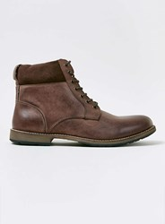 Topman Brown Leather Cuff Boots