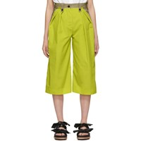Sacai Tan And Yellow Cropped Trousers