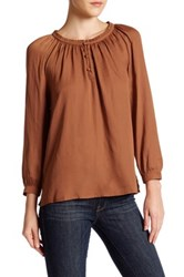 14Th And Union Peasant Blouse Petite Rust Bisque