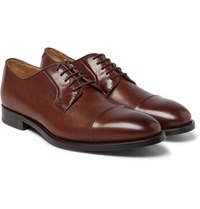 Paul Smith Ernest Cap Toe Polished Leather Derby Shoes Brown