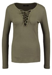 Vila Viran Long Sleeved Top Ivy Green Khaki
