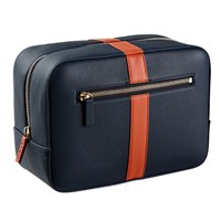 Stow Luxury Soft Leather Men's Wash Bag In Sapphire Blue