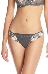 Women's Simone Perele 'Wish' Embroidered Tanga Thong Grey Pink