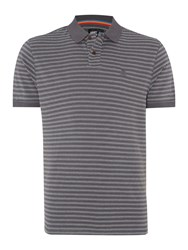 Army And Navy Hendre Stripe Polo Shirt Charcoal