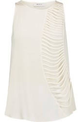 Bailey 44 Royal Stables Cutout Silk Chiffon And Jersey Top Ivory