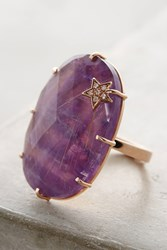 Anthropologie Amethyst Annular Ring Gold
