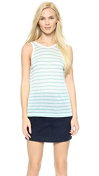 Alexander Wang Stripe Rayon Linen Tank Seafoam And White