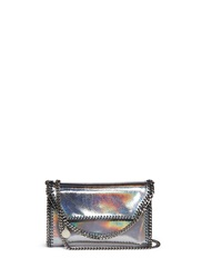 Stella Mccartney 'Falabella' Mini Holographic Crackle Chain Bag Metallic