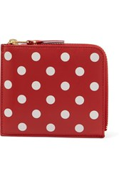 Comme Des Garcons Printed Leather Wallet Red
