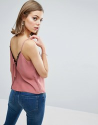 Asos Cami With Lace Plunge And Tie Back Dusty Pink