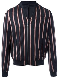 The Kooples Striped Bomber Jacket Black